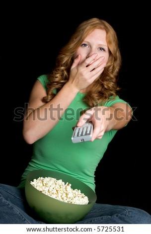 Afraid Girl Watching Television - stock photo