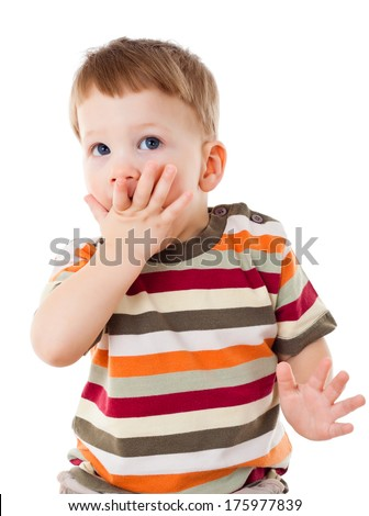 Afraid little boy with covered his mouth, isolated on white - stock photo
