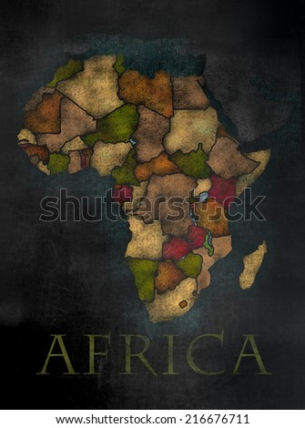 Africa - African Continent map in colorful chalkboard style with Counties - stock photo