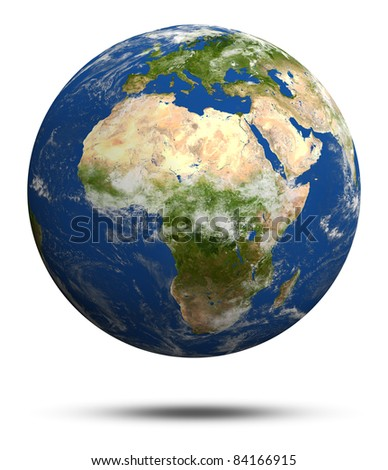 Africa and Europe. Earth globe model, elements of this image furnished by NASA - stock photo