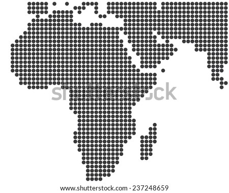 Africa and Middle East dotted map template - stock photo