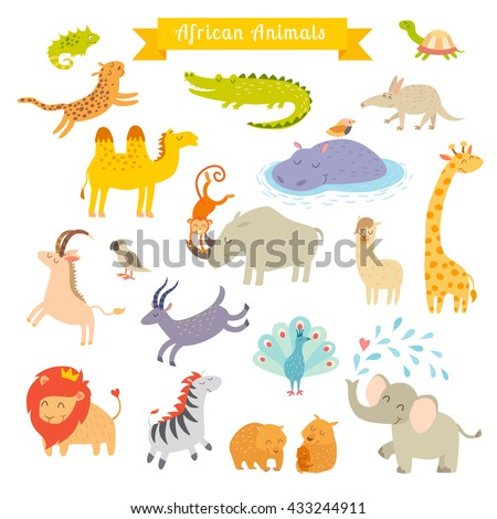 Africa animals illustration. Africa animals cartoon style. Africa animals set. Africa mammals art. Big set. Preschool, baby, continents, travelling, drawn. Isolated on white background. Animals icon - stock photo
