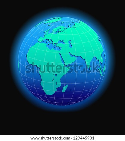 Africa, Arabia and India Global World - Elements of this image furnished by NASA - The Base Map was traced manually using the pen tool for maximum detail - Raster Version - stock photo
