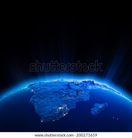 Africa city lights at night. Elements of this image furnished by NASA