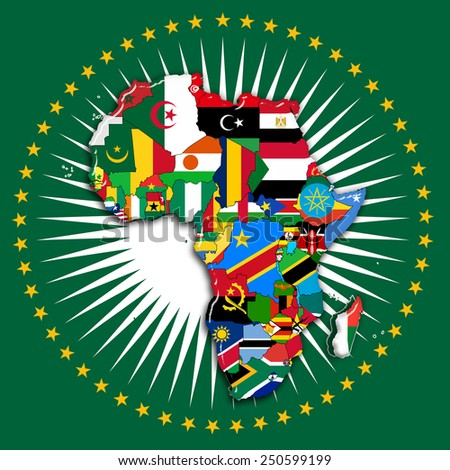 Africa,continent, flags, map and africa Union flag - stock photo