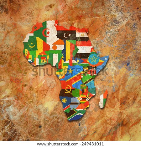 Africa,continent, flags, maps,and wall background - stock photo