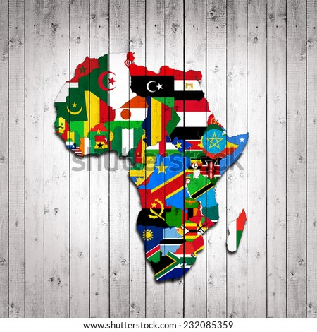 Africa,continent, flags, maps and wood background - stock photo