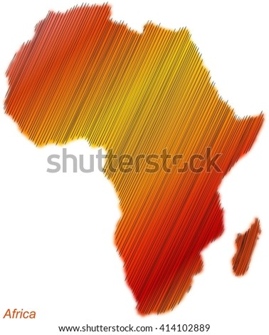 Africa continent hatched and colored. Africa. Continent. Map. Travel. Destination. Warm. Heat.