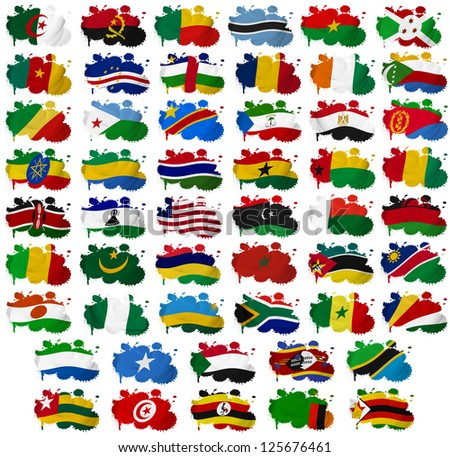 Africa countries flag blots on a white background - stock photo