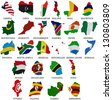 Africa countries(From L to Z) flag maps on a white background - stock photo