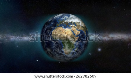 Africa Day Galactic View (Elements of this image furnished by NASA) - stock photo