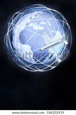 Africa earth globe view with flying plane illustration - stock photo