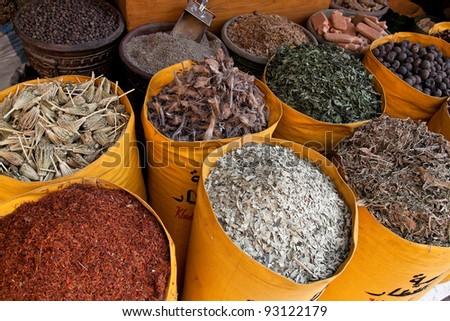 africa, egypt, cairo, khan el-khalili bazaar trading - stock photo