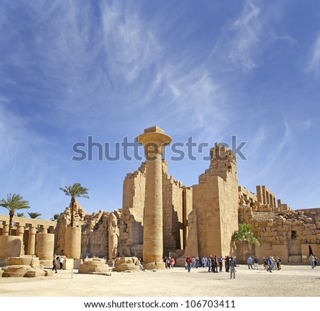 Africa, Egypt, Luxor, Karnak temple - UNESCO World Heritage Site - stock photo