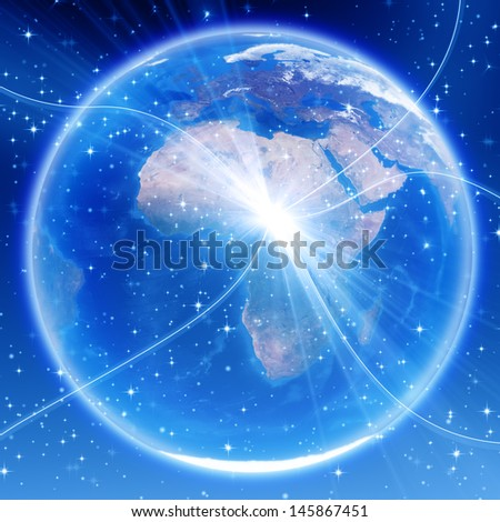 Africa, europe and asia map, globe image provided by NASA  - stock photo