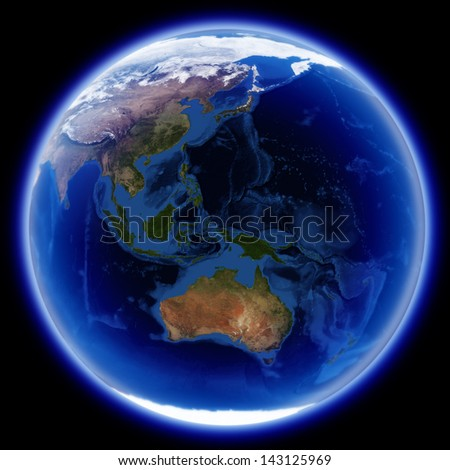 Africa, europe and asia map isolated on black, Earth globe image provided by NASA