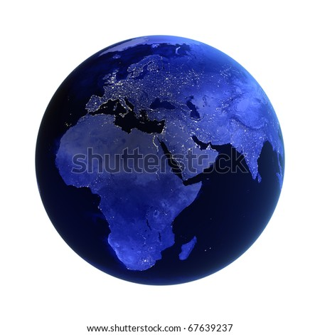 Africa, europe and asia on white. Maps from NASA imagery - stock photo
