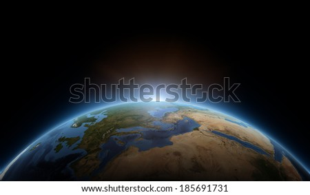 Africa, Europe and Saudi Arabia globe view, sunrise. Elements of this image furnished by NASA. - stock photo