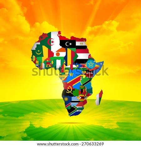 Africa flags,maps continent ,sky, sun with grass and clouds background