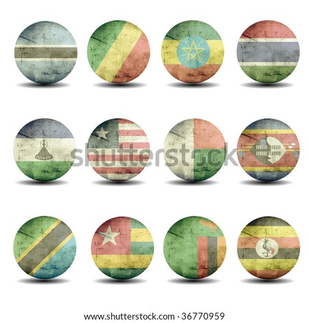 africa flags set - part 2 - stock photo