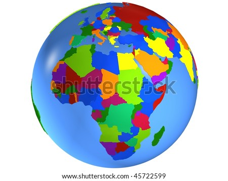 Africa globe map, with the country in different colors. - stock photo