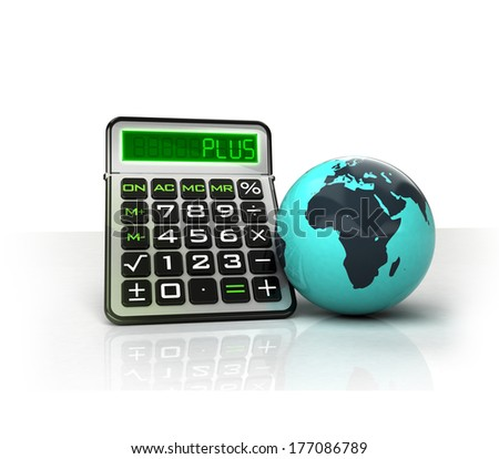 Africa globe with positive business calculations isolated on white illustration - stock photo