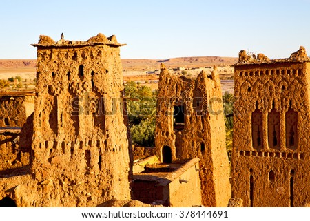 africa in morocco the old contruction and the historical village - stock photo