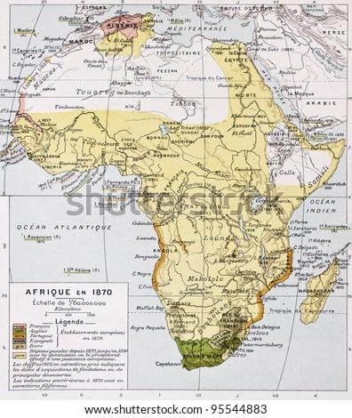 Africa in 1870 old map. By Paul Vidal de Lablache, Atlas Classique, Librerie Colin, Paris, 1894 - stock photo