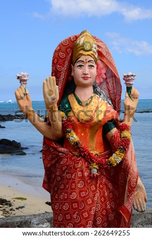 Africa, indian temple in the picturesque area of La Pointe Aux Canonniers in Mauritius - stock photo