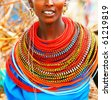 AFRICA, KENYA, SUMBURU, NOVEMBER 8:Portrait of Sumburu  woman wearing traditional handmade accessories,  review of daily life of local people, near Sumburu Park National Reserve,November 8,2008,Kenya - stock photo