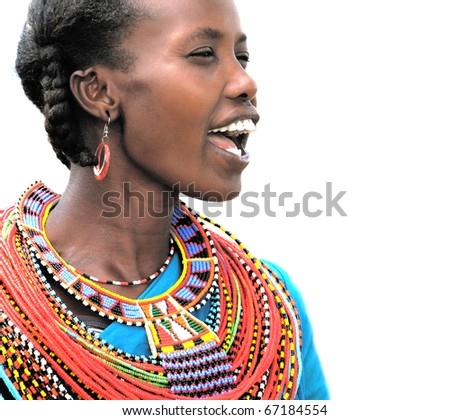 AFRICA,KENYA,SUMBURU - NOVEMBER 8: Portrait of Sumburu  woman wearing traditional handmade accessories,review of daily life of local people,near Sumburu Park National Reserve, November 8, 2008, Kenya - stock photo