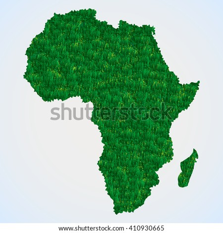 Africa map from grass - stock photo