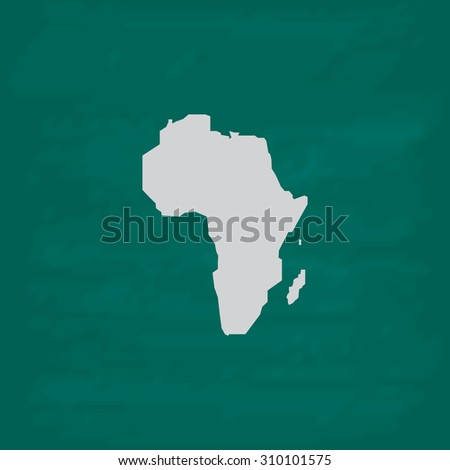 Africa Map.  Icon. Imitation draw with white chalk on green chalkboard. Flat Pictogram and School board background. Illustration symbol - stock photo