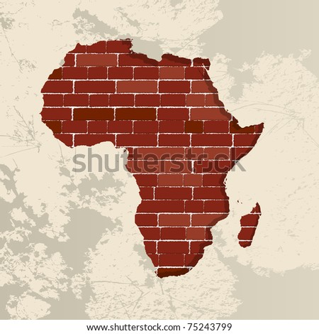 Africa map on a brick wall - stock photo