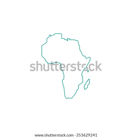 Africa Map. Outline symbol on white background. Simple line icon - stock photo