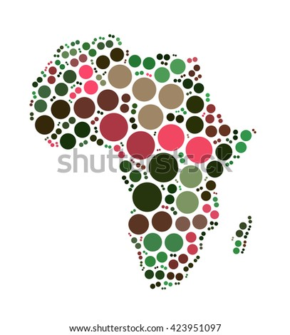 Africa Map Shape Design By Color Stock Illustration 423951097