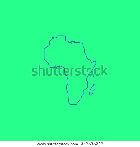 Africa Map. Simple outline illustration icon on green background - stock photo