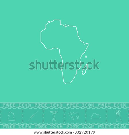Africa Map. White outline flat icon and bonus symbol. Simple illustration pictogram on green background - stock photo