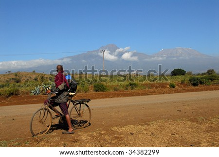 Africa, Masai in Kilimanjaro - stock photo