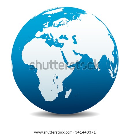 Africa, Middle East, Arabia and India Global World - Raster Version - stock photo