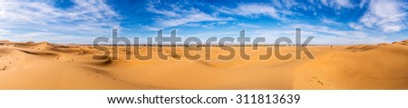 Africa, Morocco-Panoramic view of Erg Chebbi Dunes oriented to Merzouga -Sahara Desert  - stock photo