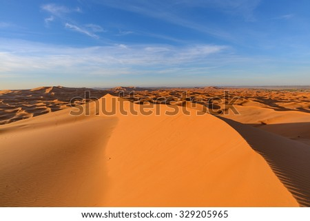 Africa, Morocco - view of Erg Chebbi Dunes - Sahara Desert - at sunrise - stock photo