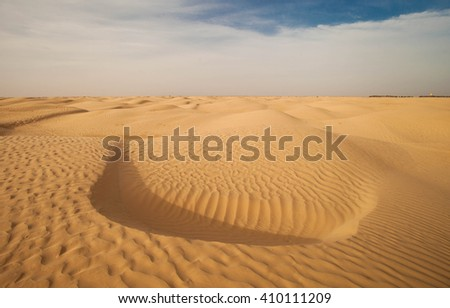 Africa, Morocco - view of Erg Chebbi Dunes - Sahara Desert. Selective focus - stock photo