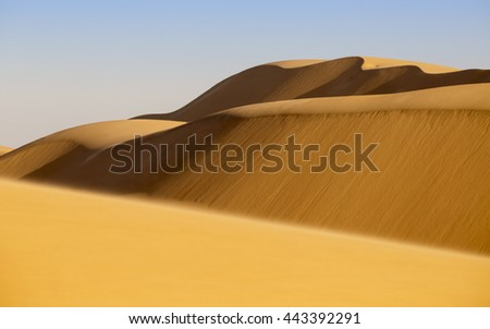 Africa. Nature and landscapes of desert. Growth of temperature and climatic changes on Earth.Sand Texture. Yellow sand. Background from fine sand.