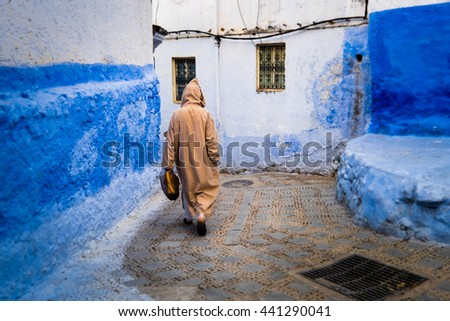 Africa,North Africa,Morocco, Chefchaouen or Chaouen is the chief town of the province of the same name. Moroccan in traditional costume.