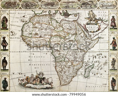 Africa old map. Created by Frederick De Wit, published in Amsterdam, 1660 - stock photo