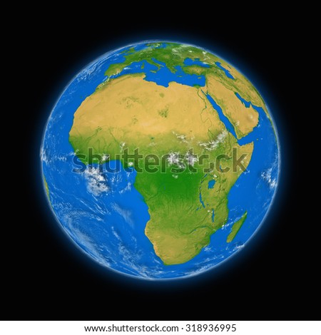Africa on blue planet Earth isolated on black background. Highly detailed planet surface. Elements of this image furnished by NASA. - stock photo