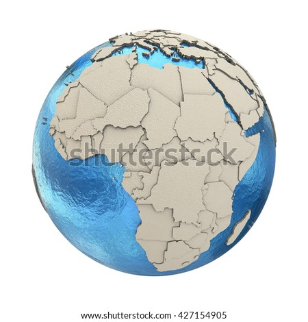 Africa on 3D model of blue Earth with embossed countries and blue ocean. 3D illustration isolated on white background. - stock photo