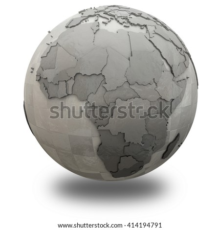 Africa on 3D model of metallic planet Earth made of steel plates with embossed countries. 3D illustration isolated on white background with shadow.