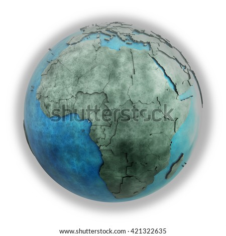 Africa on 3D model of planet Earth made of blue marble with embossed countries and blue ocean. 3D illustration isolated on white background.